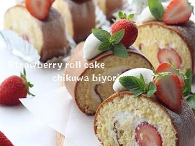 >頂き物の苺で可愛いロールを♪ by naoさん