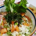 【サンシャインとまとと鯵なめろうの 2色丼】火を使わない料理です。 by あきさん