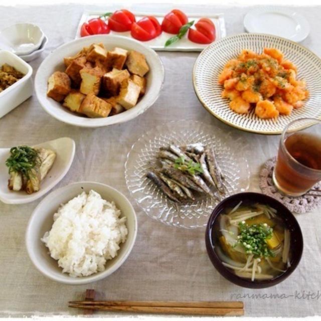 エビマヨで夕ご飯。