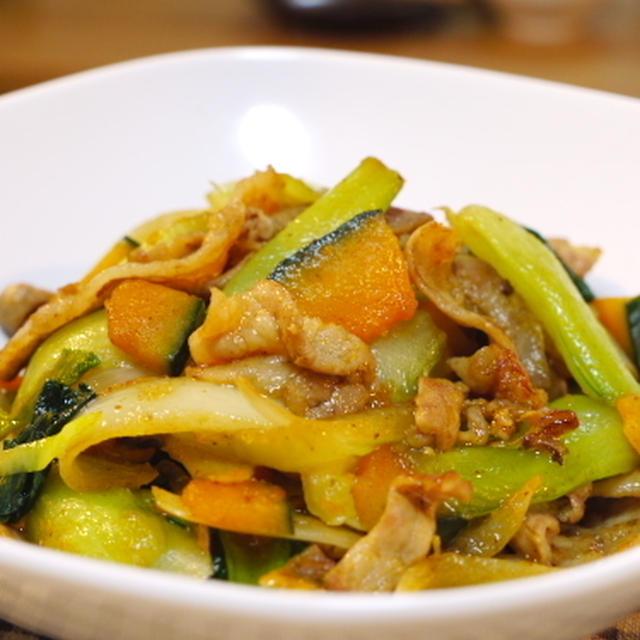 青梗菜とカボチャと豚バラの炒め物