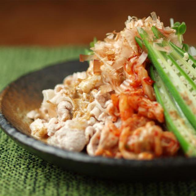 オクラとキムチの豚しゃぶサラダ 、  おつまみサラダ