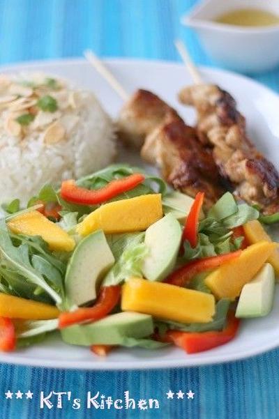 マンゴーとアボカドのレモンサラダ+ジンジャー&ココナッツライス