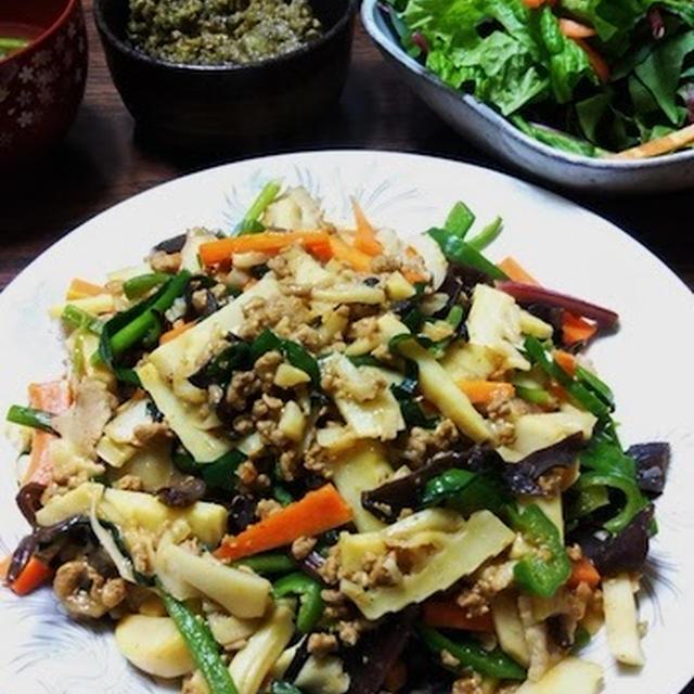 大豆お肉+筍で食べ応えあり!中華五目炒め