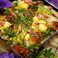 【七夕誕生会 メインP-1ソラマメ/塩漬けの桜の花入り鰻散らしと子持ちカレイの煮付け】