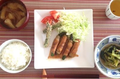 旬食材☆アスパラ生姜焼き と アスパラカツもどき