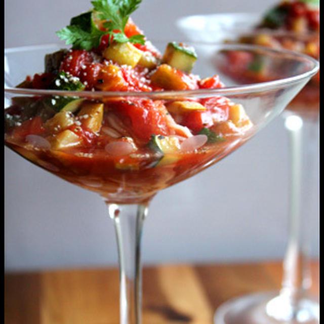 夏野菜とトマトの冷製そうめん