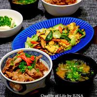 【静岡クッキングアンバサダー最後の一品】豚丼、チンゲン菜と卵の塩昆布炒め