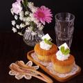 簡単サクっとしっとり☆フルーツカップケーキ&「Bloomee LIFE」のお花たち。