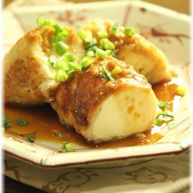 お豆腐巻の 味噌生姜焼き。 と献立。