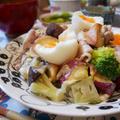 豚しゃぶとグリル野菜のボリュームサラダの晩ごはん