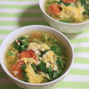 【簡単レシピ】レタスとトマトと卵のスープ
