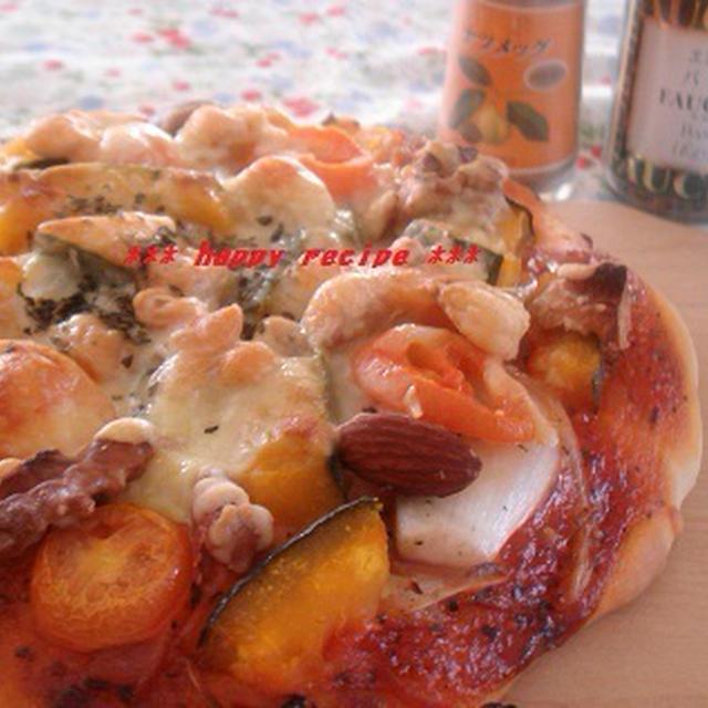 ハロウィンにも!かぼちゃとナッツのピザ