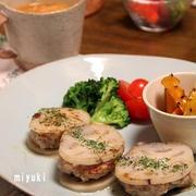 レンコンのはさみ焼き と 白菜とウィンナーのボルシチ風スープ。