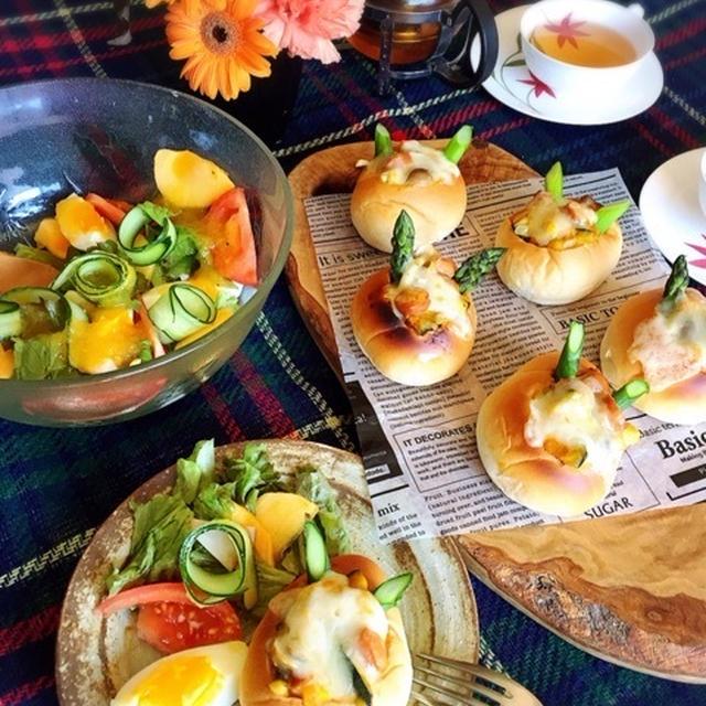 パングラタンと柿ドレッシングサラダ