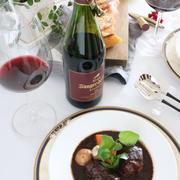 安定の濃い赤ワインとビーフシチュー。