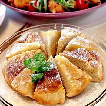 小麦・乳製品・卵不使用。バナナとリンゴのモチモチ豆腐ケーキ(米粉)。