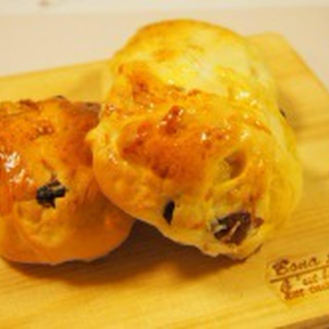 HBでお家パン♡大好きMIXフルーツにチーズを詰めて☆
