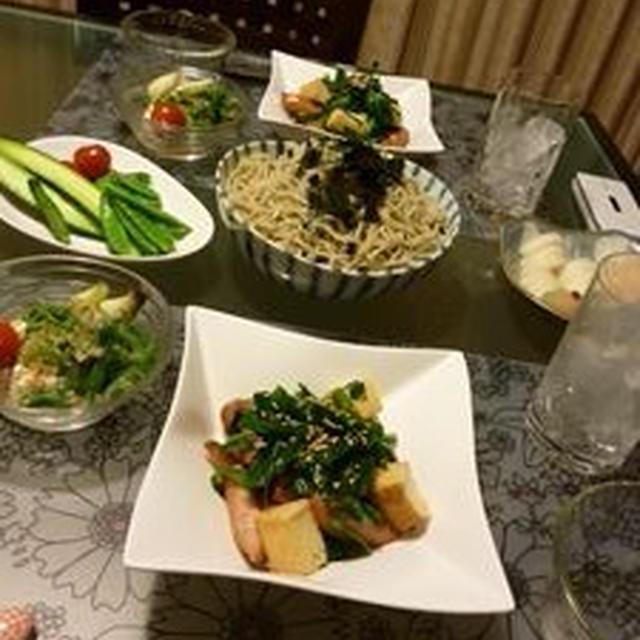夕飯(ニラと厚揚げの炒め物)