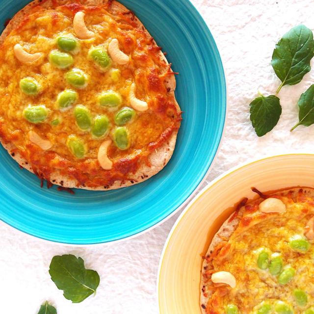 枝豆とカシューナッツのカレーピザ