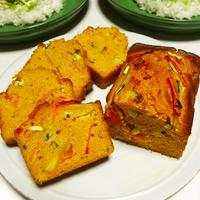 彩り野菜たっぷり★ホットケーキミックスでお手軽!ハチミツみそケークサレ - light sweetness hashimitumiso pound cake - -Recipe No.1382-