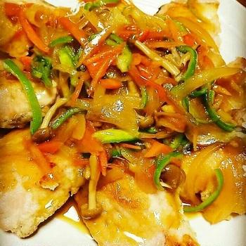 鮭の甘酢野菜あんかけ