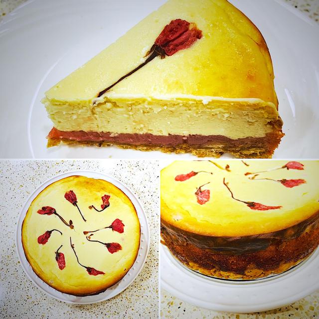 桜と桜餡のチーズケーキ