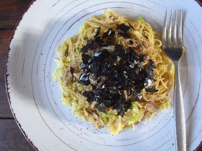 ダイエットにも。サバ缶でキャベツなスパゲティー、和風カレー醤油編