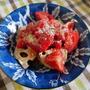 スーパーオメガ3オイルDPA&DHAとトマトのドレッシングでれんこんを食べる