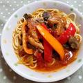 鶏肉とパプリカのトマトスパゲッティ