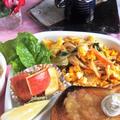■朝ご飯【MIX野菜炒めの炒り卵乗せ/パンが焦げて失敗!】