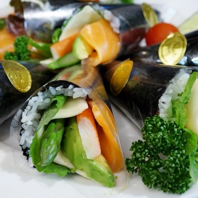 【スライスチーズ入り 洋風手巻きSUSHI!】Meijiさんの「贅沢スライスチーズ」で濃香!最高の味わいです♪