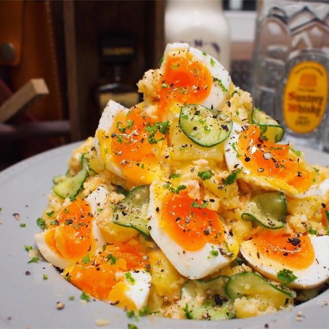 【レシピ】焼き鮭と半熟卵のポテトサラダ