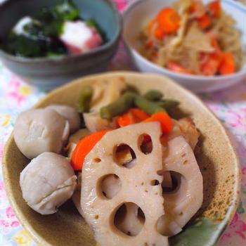 懐かしのレンコンと里芋の煮物
