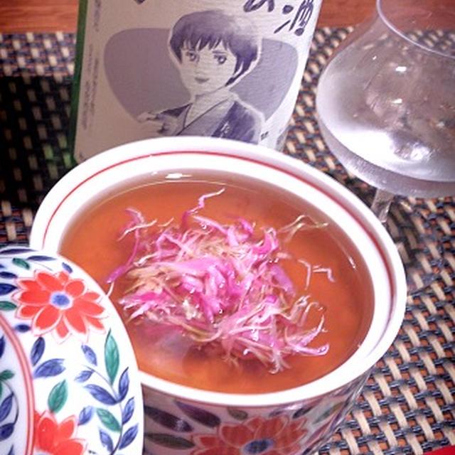 豆腐のじょうよ蒸し菊花餡、ほうれん草のとろろ昆布浸し、サザエつぼ焼き、秋鮭鍋
