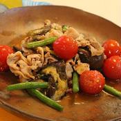 豚肉と茄子といんげんのラー油*味噌炒め