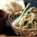 おうち天ぷら、野菜天ざるうどん。