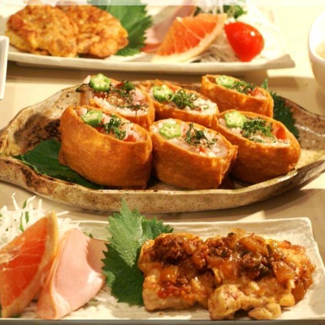 《我が家の晩ご飯》豚肉のピカタ/カリカリ梅と白ゴマ入りのお稲荷さん他です。