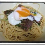 久々パスタ料理★牛肉と水菜のすきやき風パスタ