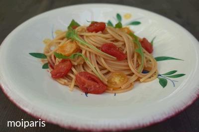 シンプル美味。トマトのオリーブオイル醤油スパゲティー