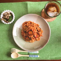 GABANチリパウダー&タイム&あらびきガーリックでピリ辛トマトソースパスタ♡