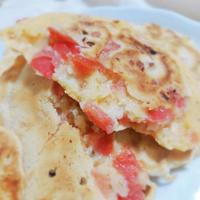 【完熟トマトで朝ごはん】トマトとチーズのイタリアン風パンケーキ
