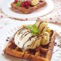チョコバナナ&チェリーローズのワッフル by Aya♪さん