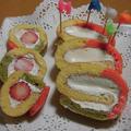 3色ロールケーキ・・あさりの五目ごはんで~♪