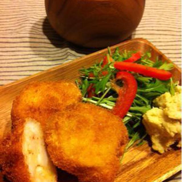 海老カツとアサリのコーンスープ