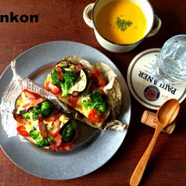 【簡単!!カフェごはん】夏野菜のタルティーヌと、冷たいかぼちゃスープ