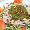 ねばとろ〜で食欲増進!めかぶソースの冷しゃぶサラダ。 by akkiさん