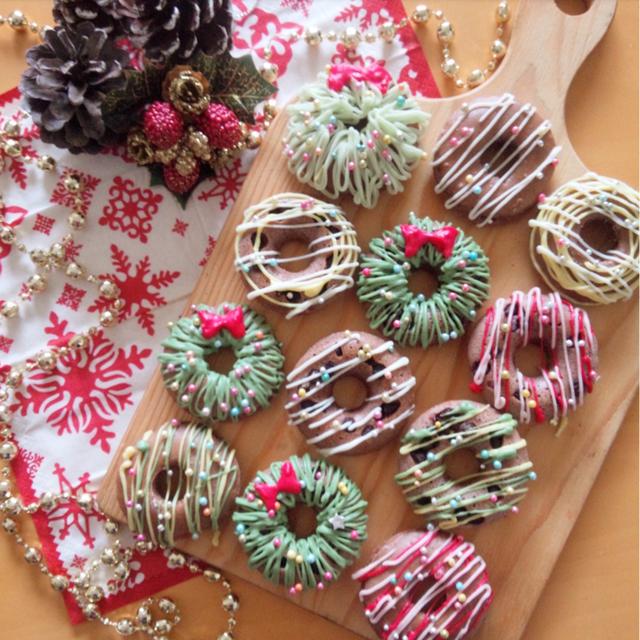 簡単可愛いホットケーキミックスでクリスマス焼きドーナツ