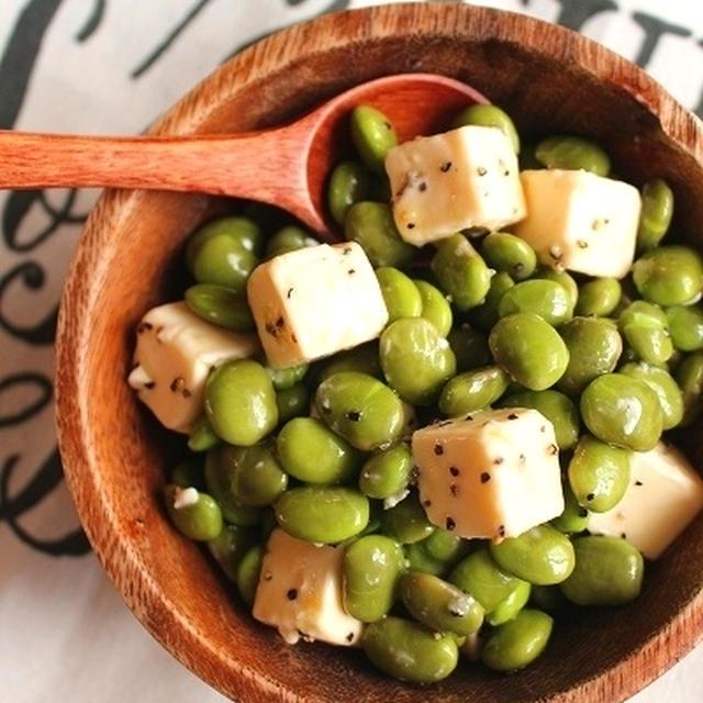 火を使わない簡単おつまみ*枝豆とチーズのオリーブオイル和え