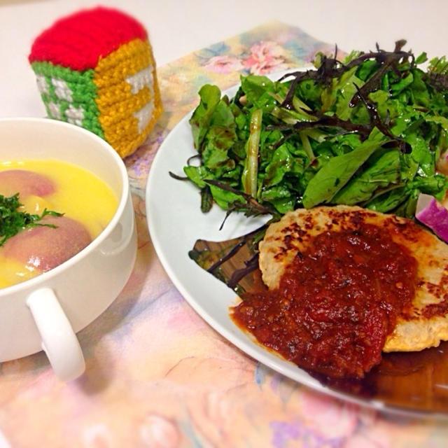 赤カブのスープ&大豆ハンバーグ