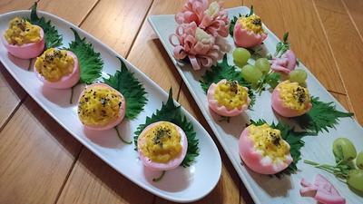 【レシピ】春!桜!桃色ゆで卵のサラダ仕立て(^^♪